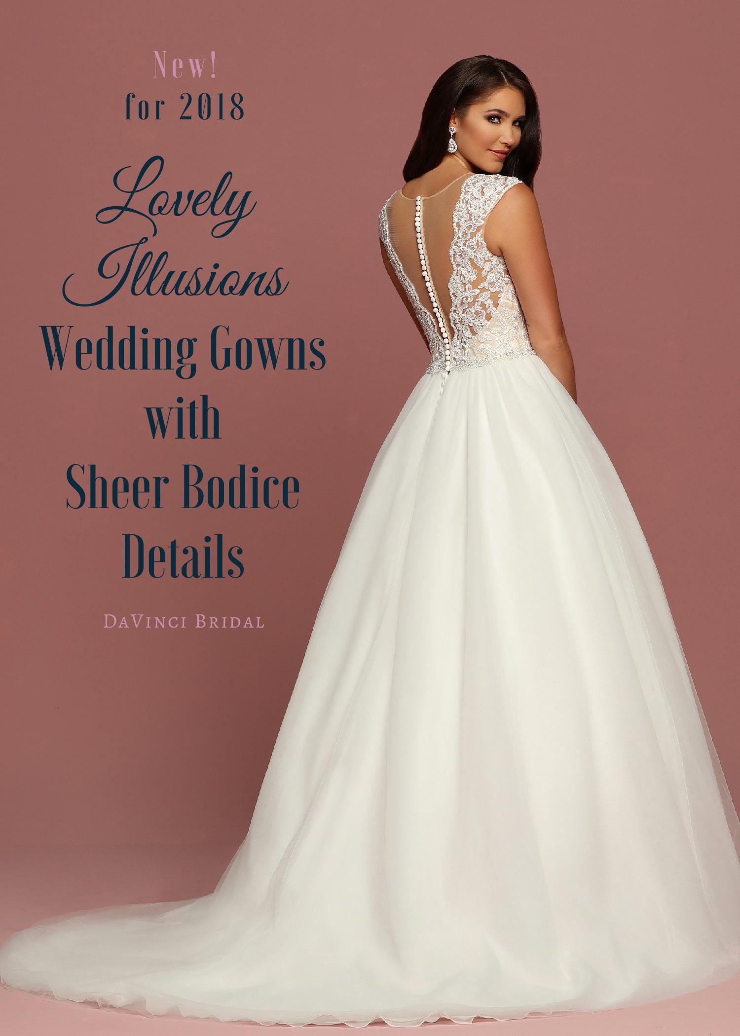 Illusion Sheer Bodice Wedding Dresses