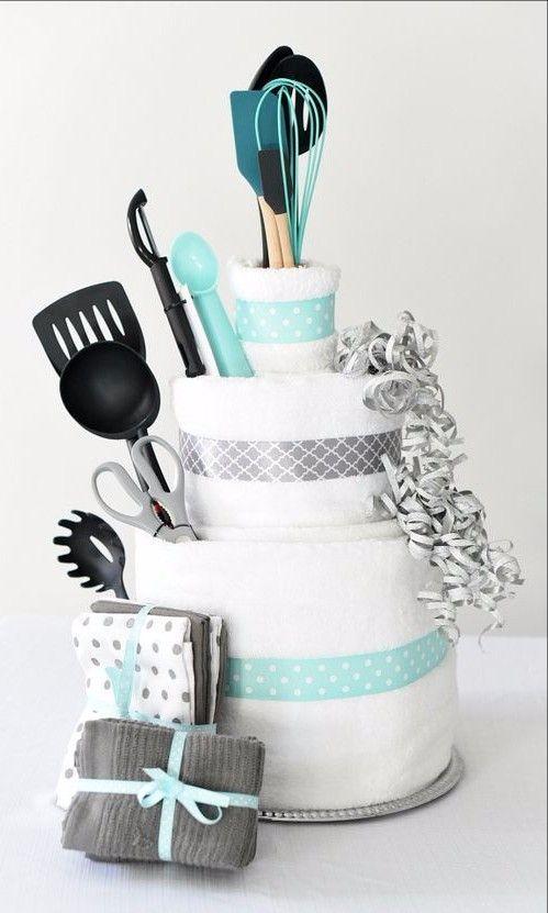 Aqua & Silver Bridal Shower Towel Cake