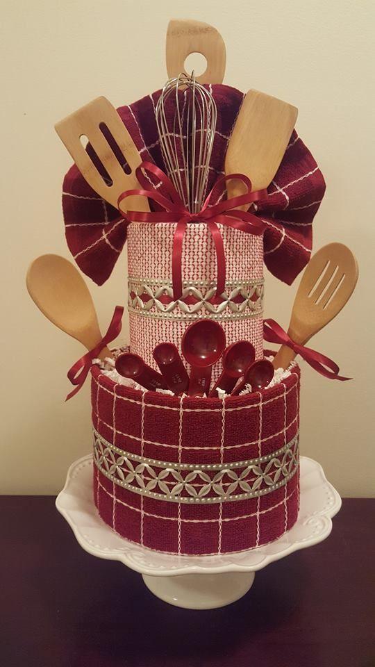 Burgundy & Gold Bridal Shower Towel Cake