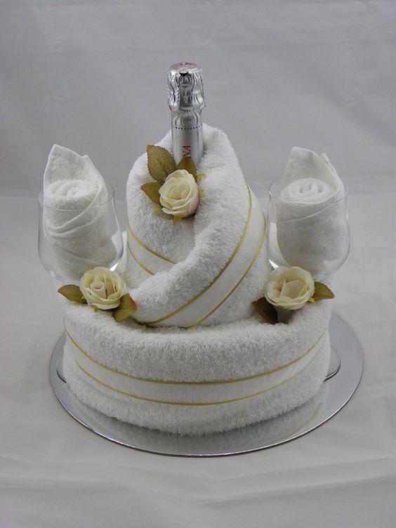 bride groom champagne bridal shower towel cake