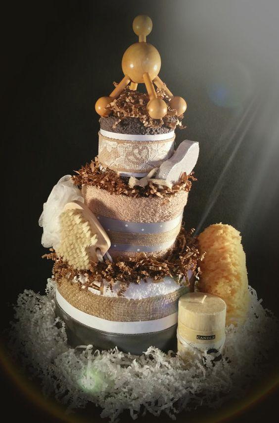 His & Hers Honeymoon Spa Bridal Shower Towel Cake