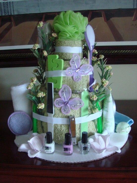 Lavender & Green Mani-Pedi Bridal Shower Towel Cake