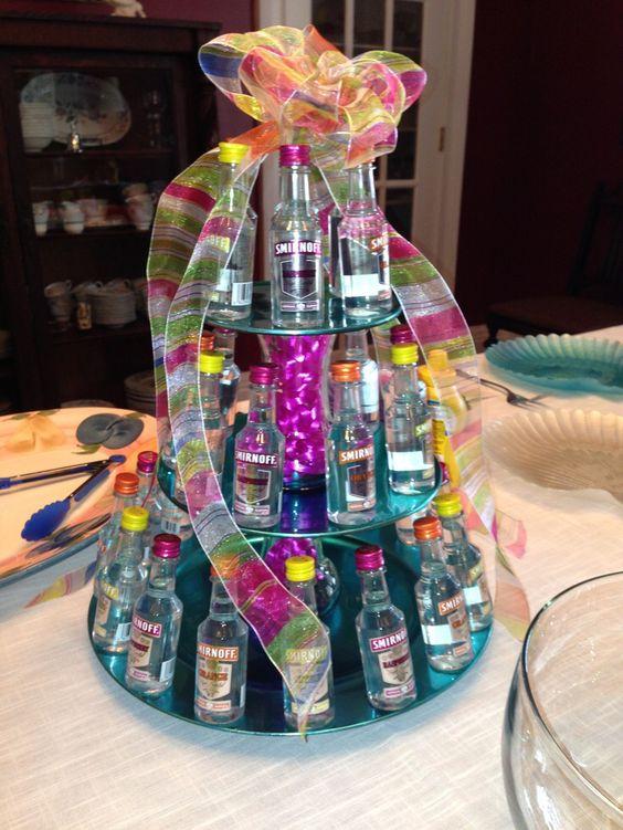 Mini Liquor Bottle Tower Tier Cake