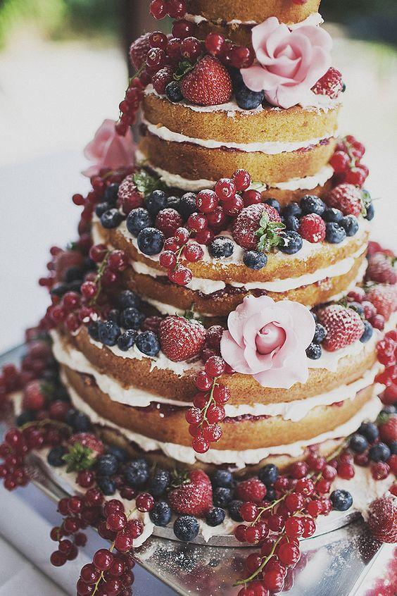 Naked Cake With Fruit Frosting Roses Davinci Bridal Blog