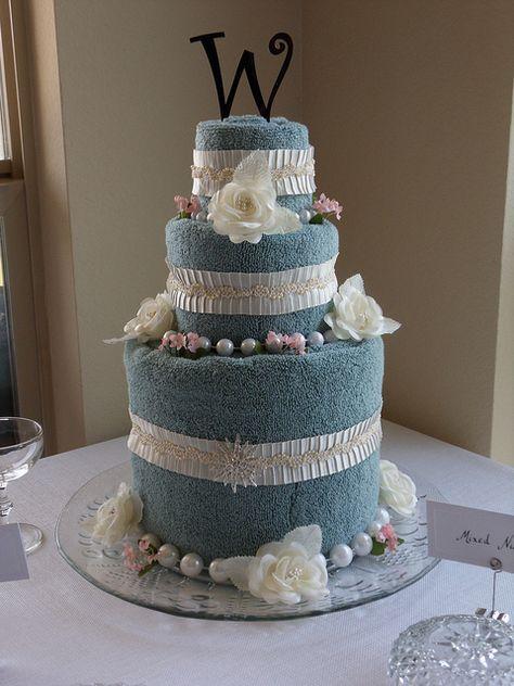 Gray Pearl & Roses Bridal Shower Towel Cake