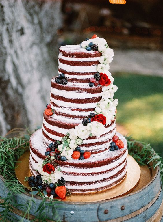 Red Velvet Wedding Cake.Red Velvet Naked Wedding Cake Davinci Bridal Blog