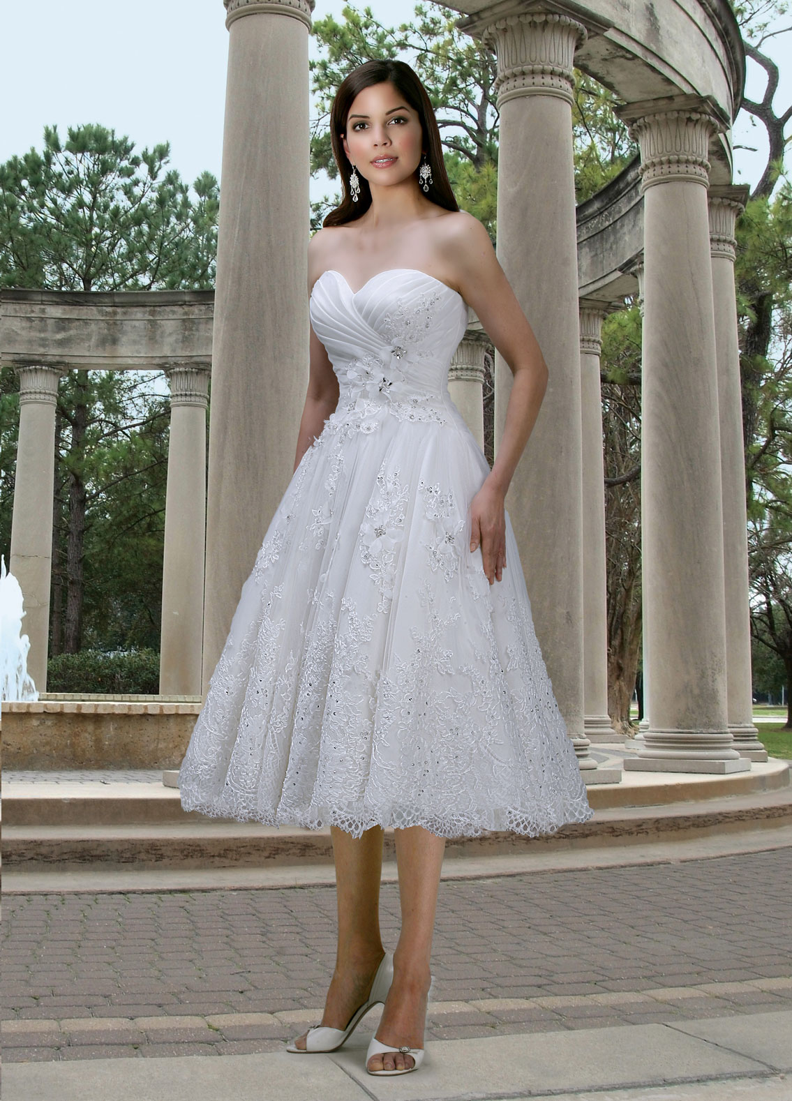 Tulle Strapless Sweetheart Tea Length Wedding Dresses