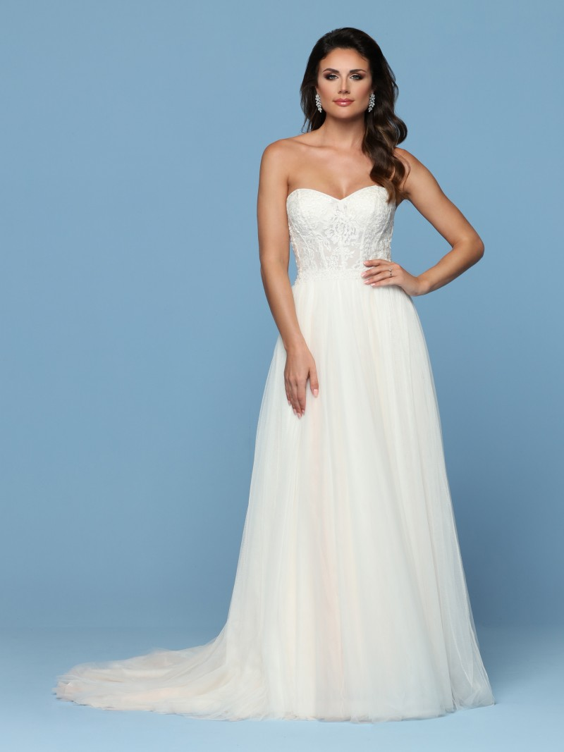 Image Showing Front View Of Style 50541: Taffeta Lace Wedding Dress Look No At Reisefeber.org